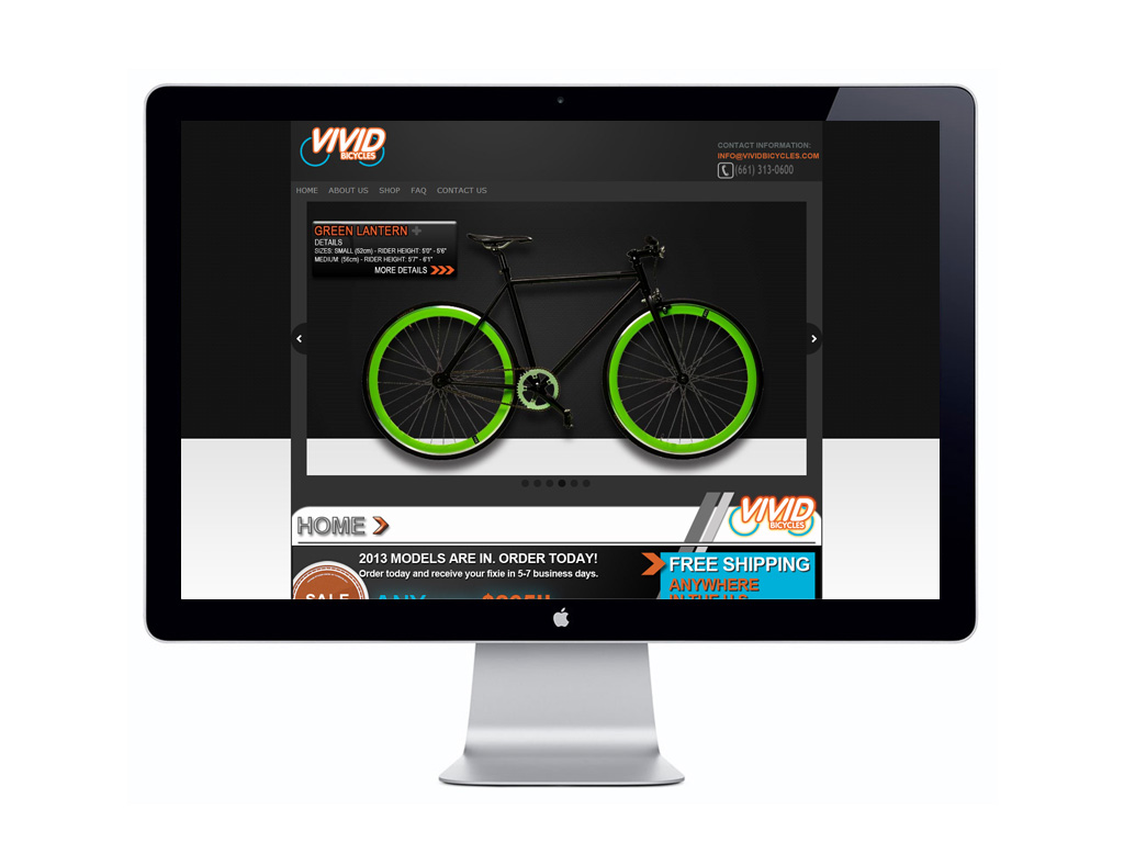 Vivid Bicycles - Project: Website Design; E-commerce; Branding; Facebook Landing Page; Flash Animation