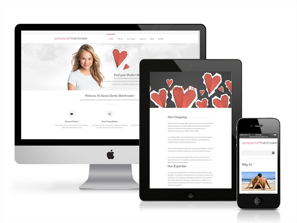 Client: Santa Clarita Matchmaker - Project: Website Development; Website Design; Logo Design; Graphic Design; Responsive Website; Parallax; Wordpress