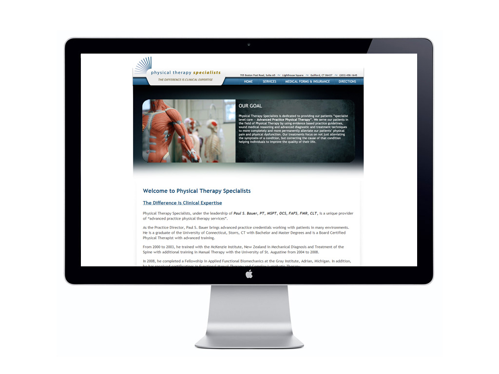 Client: Physical Therapy Specialist; Website Development; Website Design